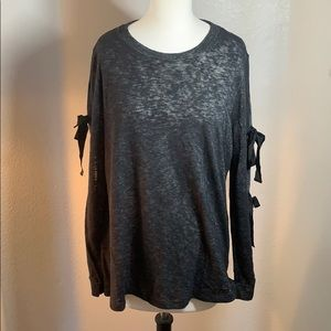 NWT pleione dark grey ribbon sleeve top XL